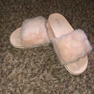 Slide on furry shoes